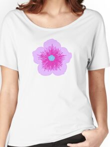 Pink and Blue Flower Women's Relaxed Fit T-Shirt