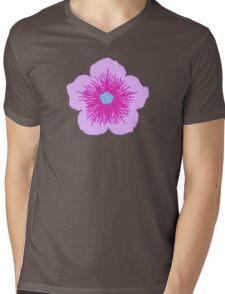 Pink and Blue Flower Mens V-Neck T-Shirt