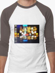 bokeh of city lights in the background Men's Baseball ¾ T-Shirt
