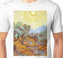 1889-Vincent van Gogh-Olive Trees with yellow sky and sun-73,66x92,71 Unisex T-Shirt