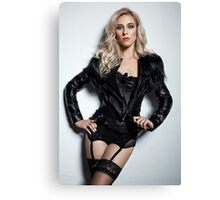 A Blonde In Leather Canvas Print