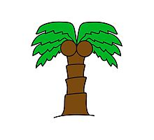 comic cartoon palm small sweet cute coconuts Photographic Print