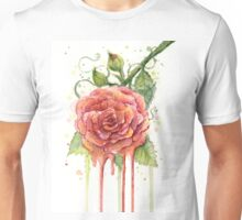 Red Rose Watercolor Dripping Unisex T-Shirt