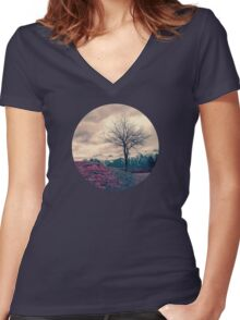 Japanese Mountains Women's Fitted V-Neck T-Shirt