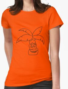 comic cartoon funny sweet small cute palm face, grinning monster Womens Fitted T-Shirt