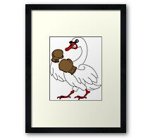 The Boxing White Swan of Melbourne Framed Print