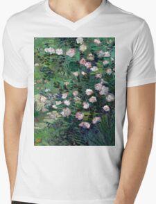 1889-Vincent van Gogh-Roses-33x41,3 Mens V-Neck T-Shirt