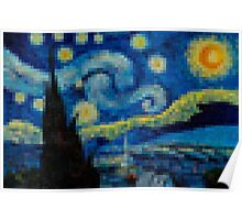 Pixel Starry Night Poster