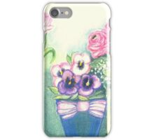 SPRINGTIME FLOWERS - TULIPS - PANSIES - BUTTER CUPS -Colour Pencil and Pastel-Design iPhone Case/Skin