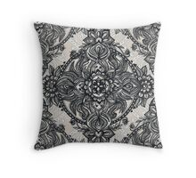 Charcoal Lace Pencil Doodle Throw Pillow