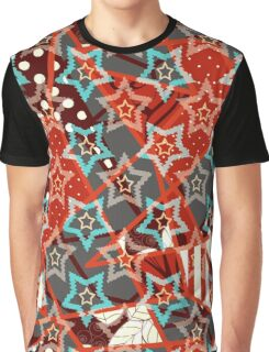 Seamless abstract geometric texture pattern on red background Graphic T-Shirt