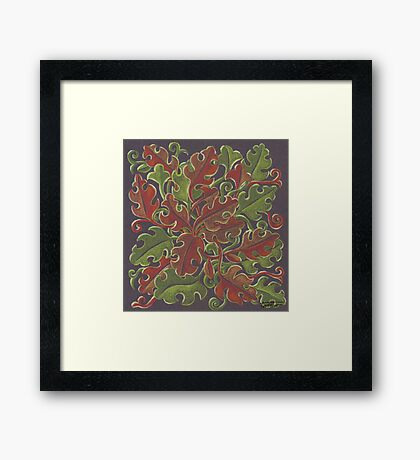 Oak leaves - Tataro pattern Framed Print