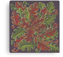 Oak leaves - Tataro pattern Canvas Print