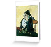 1889-Vincent van Gogh-The Arlesienne-73x92 Greeting Card