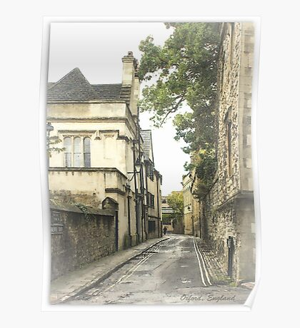 Old street in Oxford, England Poster