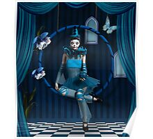 Blue clown in a surreal scenery Poster