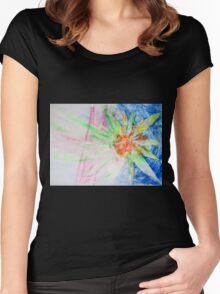 Flower of Sun, Sun of Flower - Original Wall Modern Abstract Art Painting Original mixed media Women's Fitted Scoop T-Shirt