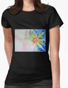 Flower of Sun, Sun of Flower - Original Wall Modern Abstract Art Painting Original mixed media Womens Fitted T-Shirt