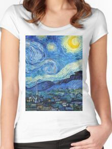 1889-Vincent van Gogh-The Starry Night-73x92 Women's Fitted Scoop T-Shirt