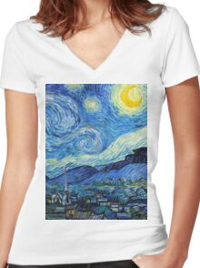 1889-Vincent van Gogh-The Starry Night-73x92 Women's Fitted V-Neck T-Shirt