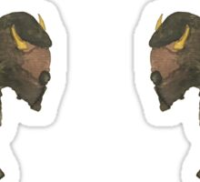 Pair of Hand-Painted Buffalo Bison in Watercolors Sticker