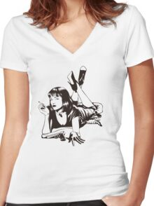 Pulp Movie Illustration Women's Fitted V-Neck T-Shirt