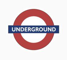 TUBE, UNDERGROUND, LONDON, ENGLAND, BRITISH, on BLACK One Piece - Short Sleeve