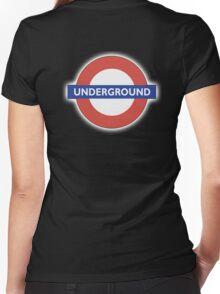 TUBE, UNDERGROUND, LONDON, ENGLAND, BRITISH, on BLACK Women's Fitted V-Neck T-Shirt