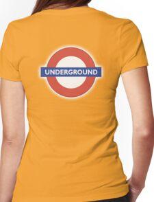 TUBE, UNDERGROUND, LONDON, ENGLAND, BRITISH, on BLACK Womens Fitted T-Shirt