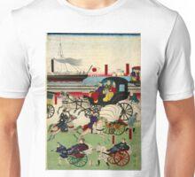 Kuniteru Utagawa - Display of Vehicles in Takanawa Tokyo - 1871 - Woodcut Unisex T-Shirt