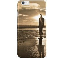 Crosby Beach Iron Man Sunset Sepia Toned iPhone Case/Skin
