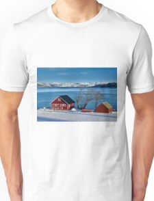 winter landscape with typical red house at snow covered coast Unisex T-Shirt