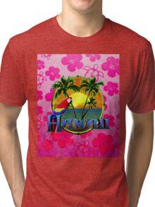 Hawaii Sunset Pink Honu Tri-blend T-Shirt