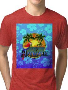 Hawaii Sunset Blue Honu Tri-blend T-Shirt