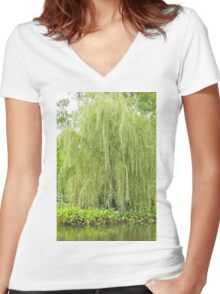 Weeping Willow by the Pond  Women's Fitted V-Neck T-Shirt