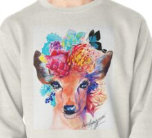 rain deer with flower crown forest animal Pullover