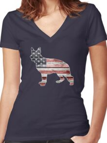 Patriotic German Shepherd, American Flag Women's Fitted V-Neck T-Shirt