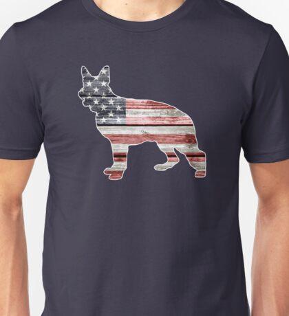 Patriotic German Shepherd, American Flag Unisex T-Shirt