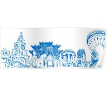 Liverpool Landmarks Montage Blue and White Poster