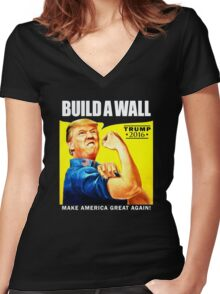Build a Wall Women's Fitted V-Neck T-Shirt