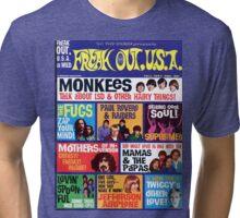 Freak Out USA magazine Cover Fall 1967, Monkeys, Supremes, Paul Revere, Mamas & The Papas... Tri-blend T-Shirt
