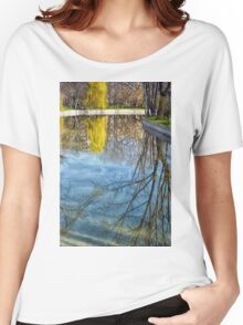 Natural scene. Trees reflected in the water. Photograph. Women's Relaxed Fit T-Shirt