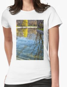 Natural scene. Trees reflected in the water. Photograph. Womens Fitted T-Shirt