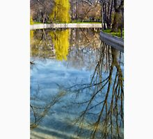 Natural scene. Trees reflected in the water. Photograph. Unisex T-Shirt