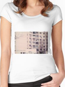 Vintage image of a tall block of flats. Women's Fitted Scoop T-Shirt