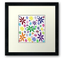 Colorful Retro Flowers Framed Print