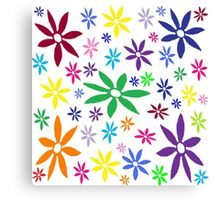 Colorful Retro Flowers Canvas Print