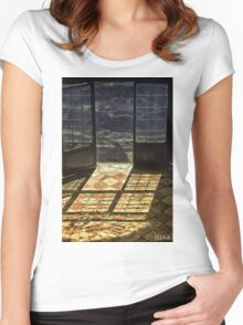 Strong contrast between light and shadow. Old classical entrance. Women's Fitted Scoop T-Shirt