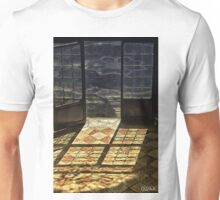 Strong contrast between light and shadow. Old classical entrance. Unisex T-Shirt
