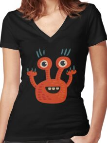 Funny Orange Creature Women's Fitted V-Neck T-Shirt